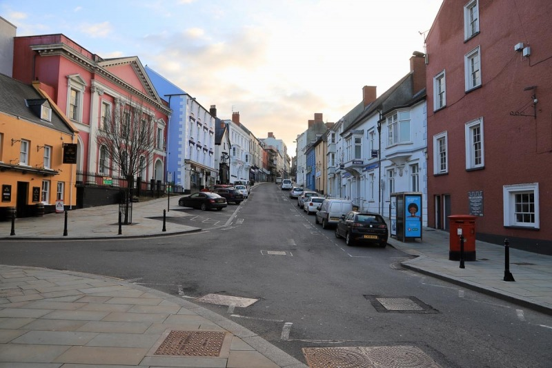 Haverfordwest High Street from Castle square